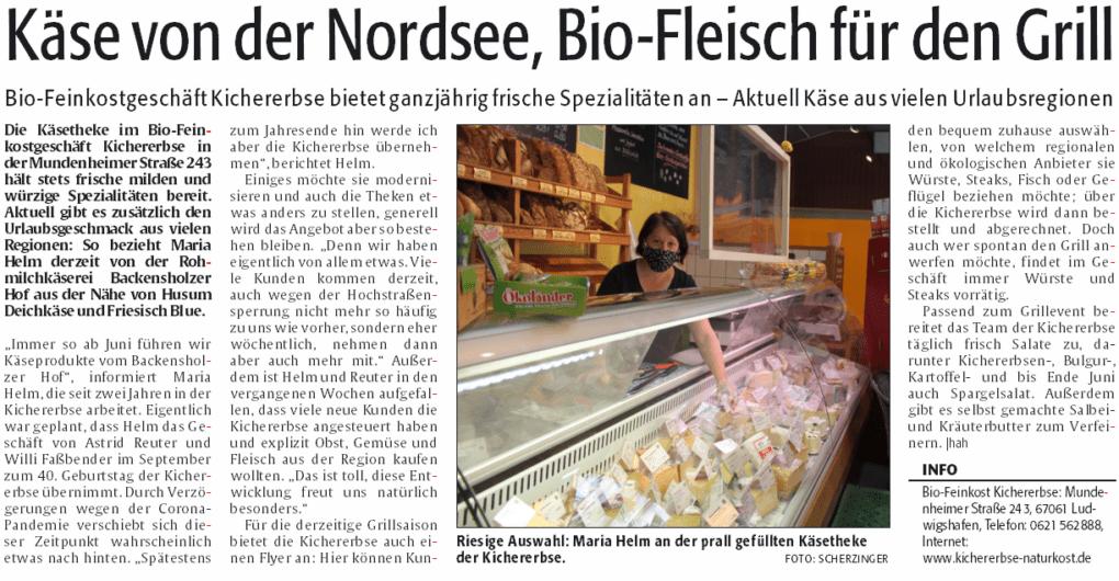 Käse aus vielen Urlaubsregionen - Artikel in der Rheinpfalz vom 03.06.2020